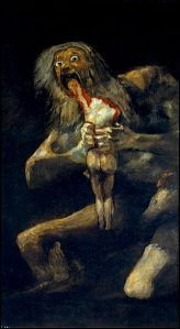 Saturn devours his son in the painting by Francisco Goya. It depicts the Greek myth of Saturn, who, fearing that his children would supplant him, ate each one upon their birth.